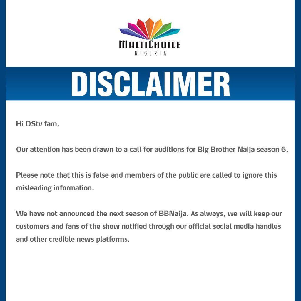 DSTV Disclamer