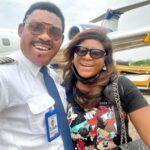 Destiny Etiko poses with Omotola's husband, Capt Ekeinde