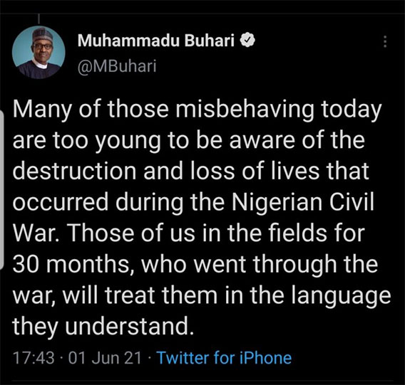 Buhari Tweet Civil War