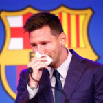 Lionel Messi tears out of Barcelona