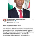 EFCC Counters Bawa Slumps Claim…he is hale and hearty